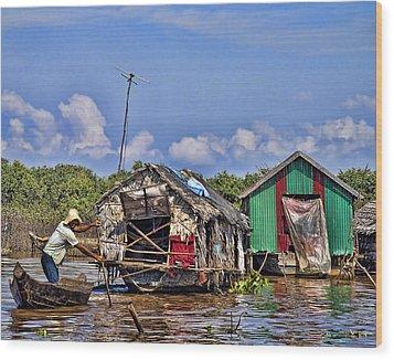 Cambodian Fishing Scene Wood Print