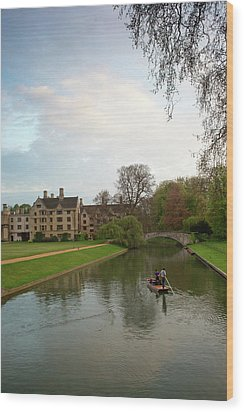 Cambridge Clare College Stream And Boat Wood Print by Douglas Barnett