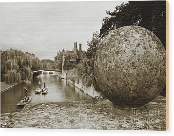Wood Print featuring the photograph Cambridge Punting Sepia by Eden Baed
