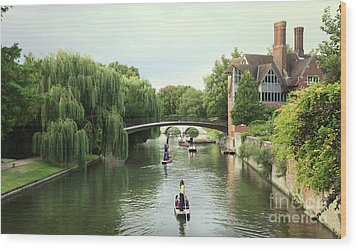 Wood Print featuring the photograph Cambridge River Punting by Eden Baed