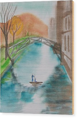 Cambridge River View Wood Print by Leo Boucher