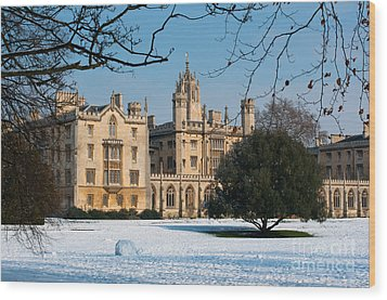 Cambridge Snowscape Wood Print