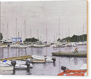 Camden Maine Marina Wood Print by Thomas Michael Meddaugh