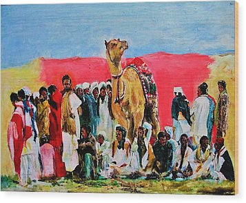 Camel Festival Wood Print by Khalid Saeed