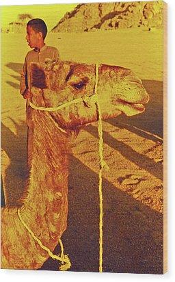 Camel Ride Wood Print by Elizabeth Hoskinson