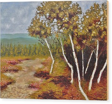 Camel Top Birches Wood Print