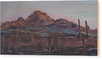 Wood Print featuring the painting Camelback Mountain by Julie Todd-Cundiff
