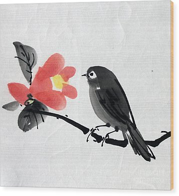 Camellia And A Little Bird Wood Print