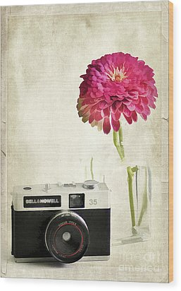 Camera And Flowers Wood Print by Darren Fisher