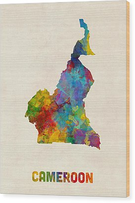 Wood Print featuring the digital art Cameroon Watercolor Map by Michael Tompsett