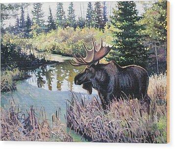 Camp 20 Creek Moose Wood Print by Larry Seiler