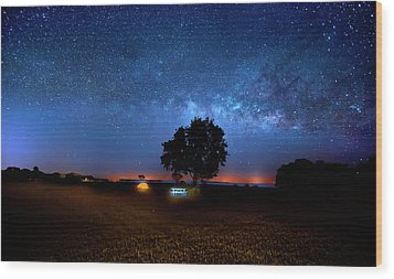 Wood Print featuring the photograph Camp Milky Way by Mark Andrew Thomas