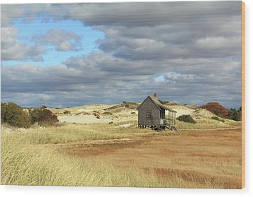 Camp On The Marsh And Dunes Wood Print by Roupen  Baker