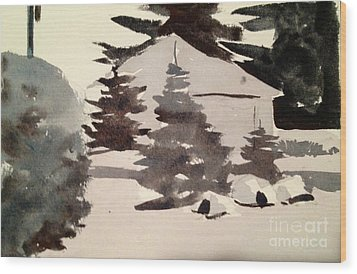 Wood Print featuring the painting Camp Patoka Black And White Study by Charlie Spear