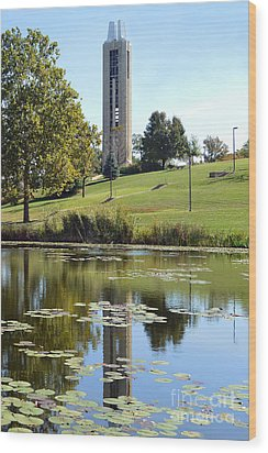 Campanile Reflection In Kansas Wood Print by Catherine Sherman