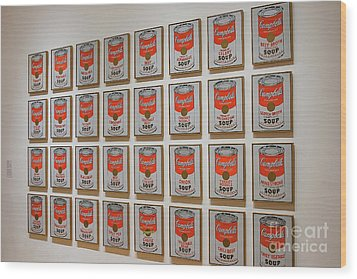Wood Print featuring the photograph Campbell Soup By Warhol by Patricia Hofmeester