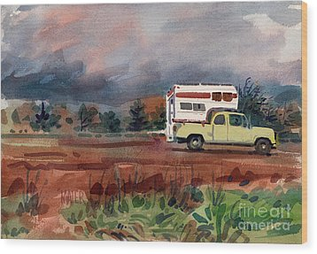 Camper On Pacific Coast Highway Wood Print by Donald Maier