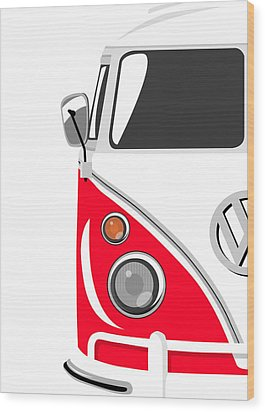 Camper Red Wood Print by Michael Tompsett