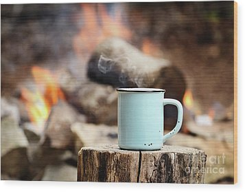 Wood Print featuring the photograph Campfire Coffee by Stephanie Frey