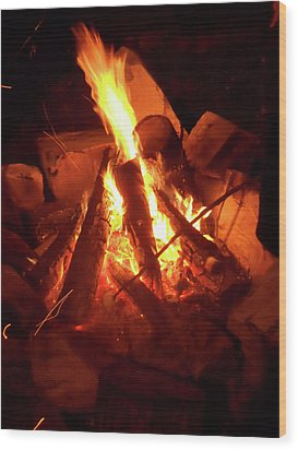 Campfire Wood Print by Turtle Caps