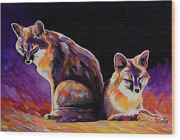 Wood Print featuring the painting Campfire Surveillance Team by Bob Coonts