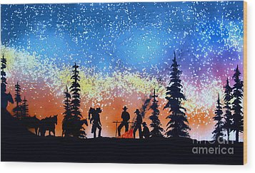 Campfire Tales Wood Print by Ed Moore