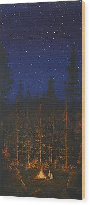 Camping In The Nothwest Wood Print by Jennifer Lynch