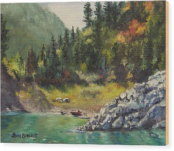 Camping On The Lake Shore Wood Print