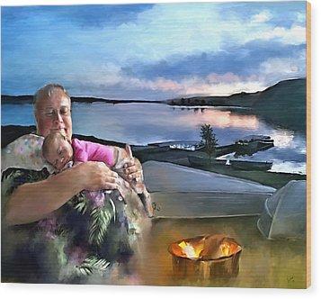 Camping With Grandpa Wood Print