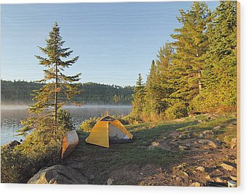 Campsite On Alder Lake Wood Print by Larry Ricker