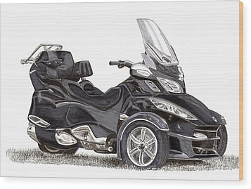 Wood Print featuring the painting Can-am Spyder Trike by Jack Pumphrey
