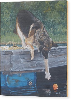 Wood Print featuring the painting Can She... by Betty-Anne McDonald