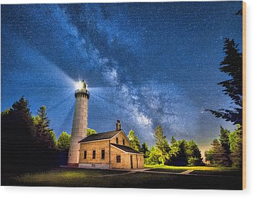 Cana Island Lighthouse Milky Way In Door County Wisconsin Wood Print