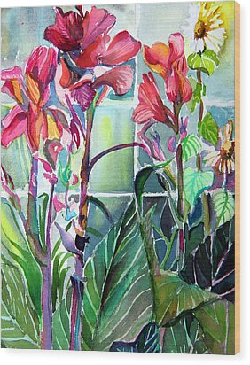 Cana Lily And Daisy Wood Print by Mindy Newman