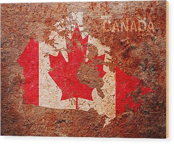 Canada Flag Map Wood Print by Michael Tompsett