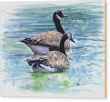Canada Geese Wood Print by John D Benson