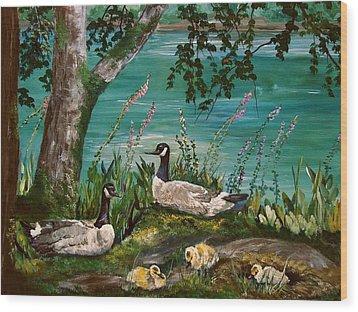 Canadian Geese At Nw Trek Wood Print by JR Hawse