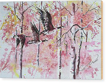 Canadian Geese In Flight Wood Print by Connie Williams
