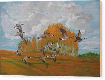 Canadian Geese Wood Print by Richard Le Page