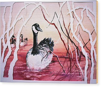 Canadian Geese Sunset Wood Print by Connie Williams