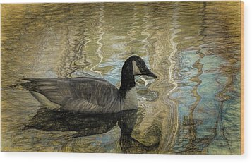 Wood Print featuring the painting Canadian Goose by Steven Richardson