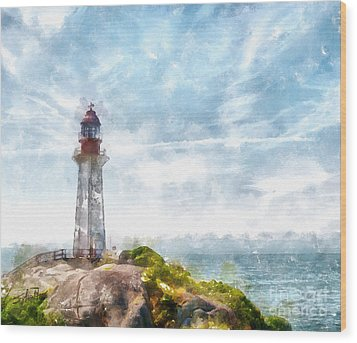 Canadian Lighthouse Wood Print by Shirley Stalter