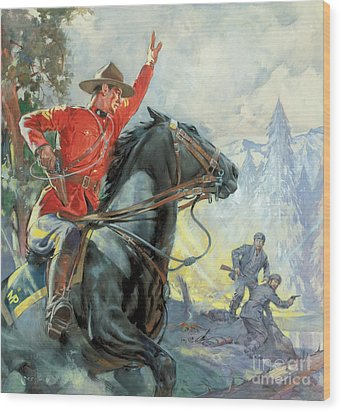 Canadian Mounties Wood Print by James Edwin McConnell