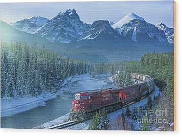 Canadian Pacific Railway Through The Rocky Mountains Wood Print by Rod Jellison