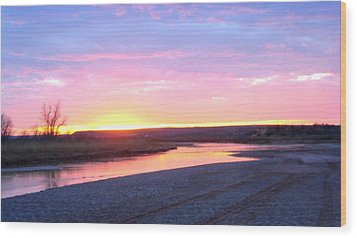 Canadian River Sunset Wood Print
