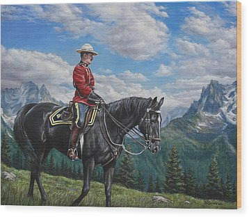 Wood Print featuring the painting Canadian Majesty by Kim Lockman