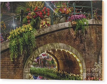 Canal And Bridge  Wood Print by Sandy Moulder