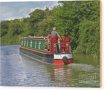 Canal Boat Wood Print by Terri Waters