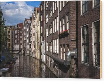 Canal Houses Wood Print by Joan Carroll