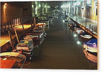 Canal In Venice At Night Wood Print by Michael Henderson